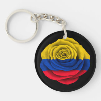 Colombian Rose Flag on Black Key Ring