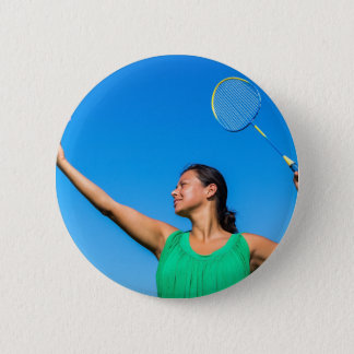 Colombian woman serve with badminton racket 6 cm round badge