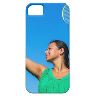 Colombian woman serve with badminton racket barely there iPhone 5 case