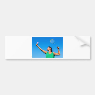 Colombian woman serve with badminton racket bumper sticker
