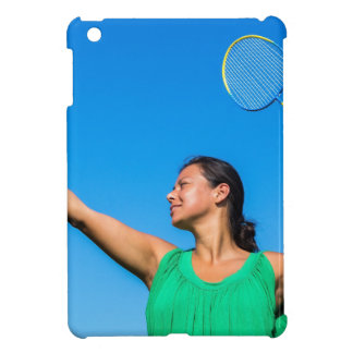 Colombian woman serve with badminton racket iPad mini cover