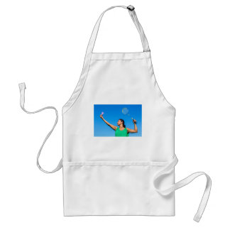 Colombian woman serve with badminton racket standard apron