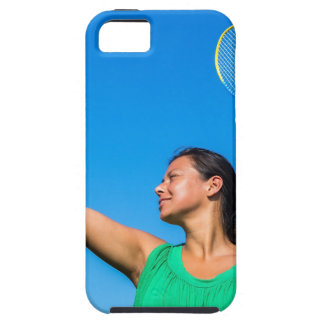 Colombian woman serve with badminton racket tough iPhone 5 case
