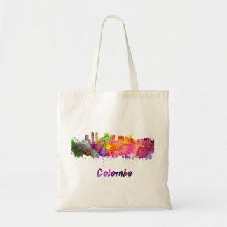 Colombo skyline in watercolor tote bag