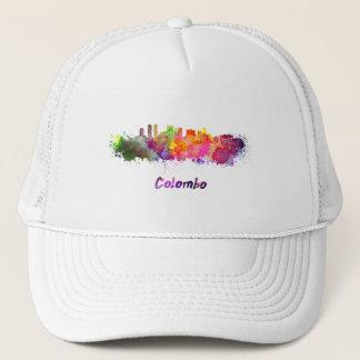 Colombo skyline in watercolor trucker hat