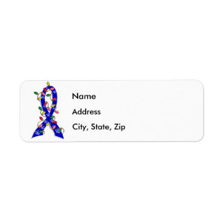 Colon Cancer Christmas Lights Ribbon Return Address Label