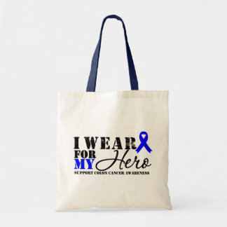 Colon Cancer Hero Blue Ribbon Budget Tote Bag