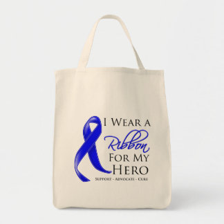 Colon Cancer I Wear a Ribbon For My Hero Grocery Tote Bag