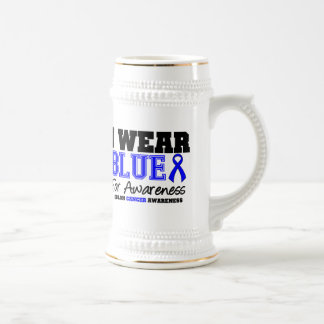 Colon Cancer I Wear Blue Ribbon For Awareness Beer Steins