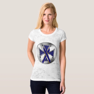 Colon Cancer Iron Cross Ladies Burnout T-Shirt