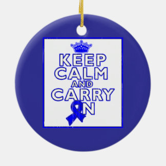 Colon Cancer Keep Calm and Carry ON Double-Sided Ceramic Round Christmas Ornament