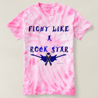 Colon Cancer Rock Star Ladies Tie-Dye T-Shirt