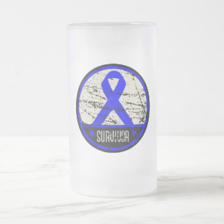 Colon Cancer Survivor Mens Vintage Frosted Glass Mug