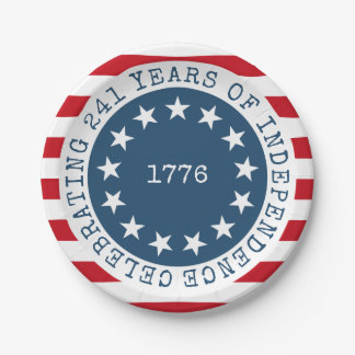 Colonial American Flag 1776 Patriotic Paper Plate