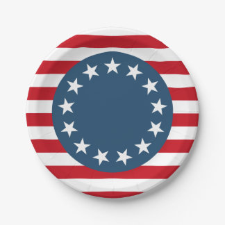 Colonial American Flag Stars and Stripes Patriotic 7 Inch Paper Plate