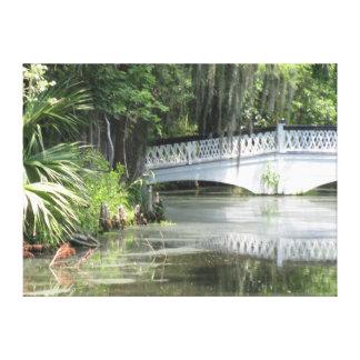 Colonial Bridge of Magnolia Garden pond Canvas Print
