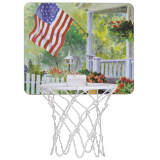 Colonial Country Home American Flag Front Porch Mini Basketball Hoop
