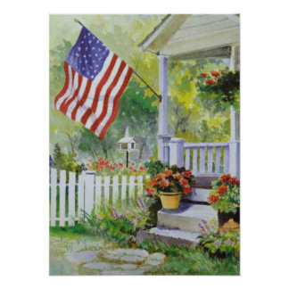Colonial Country Home American Flag Front Porch Poster