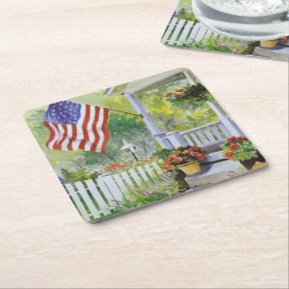 Colonial Country Home American Flag Front Porch Square Paper Coaster