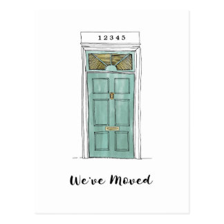 Colonial Door Illustration Moving Postcard