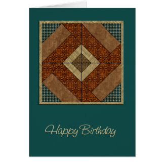 Colonial Pavement Quilt Square in Rust &  Green Card