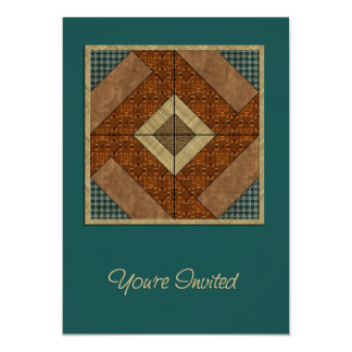 """Colonial Pavement Square in Rust & Dk Green 5"""" X 7"""" Invitation Card"""
