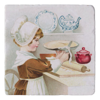 Colonial Sweetheart Making a Pie Trivet