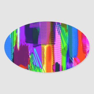 color abstract (15) oval sticker