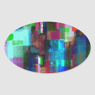 color abstract (4) oval sticker