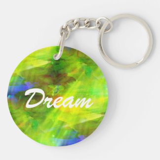 color abstract seamless background green, yellow Double-Sided round acrylic key ring