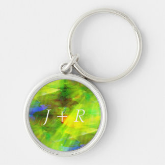 color abstract seamless background green, yellow Silver-Colored round key ring
