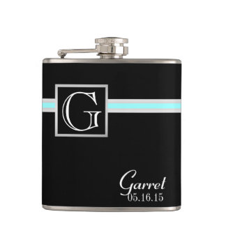 Color Accent Stripe and Monogram Hip Flask
