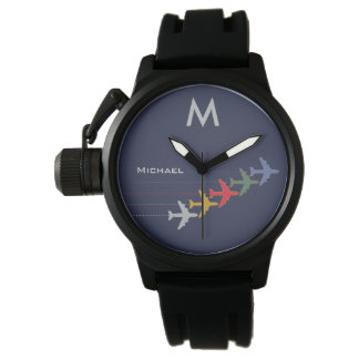 color airplanes with name & initial stylish watch