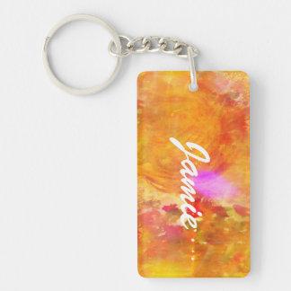 color art seamless background yellow, orange Double-Sided rectangular acrylic key ring