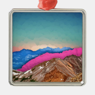 Color Band Mountains Silver-Colored Square Decoration