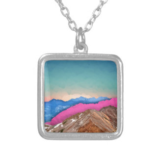 Color Band Mountains Silver Plated Necklace