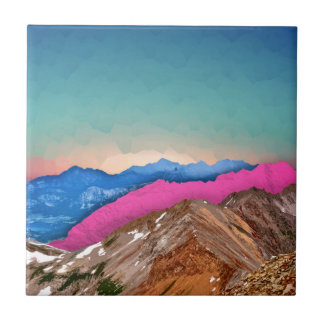 Color Band Mountains Small Square Tile