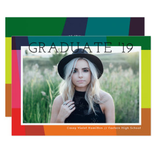 Color Bands Photo Graduation Announcement