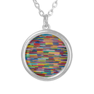 Color Bars Art Silver Plated Necklace