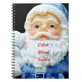 Color Blind Santa With Cute Baby Polar Bear Notebook