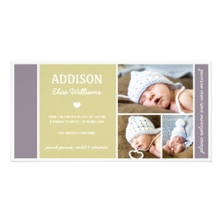 COLOR BLOCK | BABY BIRTH ANNOUNCEMENT PERSONALIZED PHOTO CARD