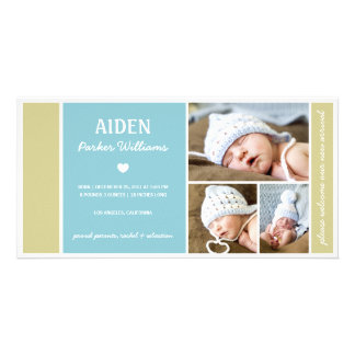 COLOR BLOCK | BABY BOY BIRTH ANNOUNCEMENT PHOTO CARD