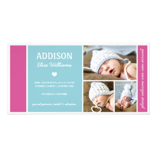 COLOR BLOCK | BABY GIRL BIRTH ANNOUNCEMENT PHOTO CARD TEMPLATE