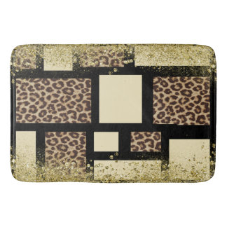 Color Block Cream Ivory Black & Leopard Cheetah Bath Mat