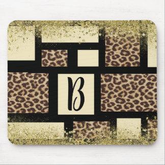 Color Block Cream Ivory Black & Leopard Cheetah Mouse Pad