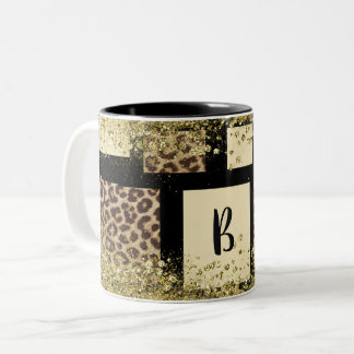 Color Block Cream Ivory Black & Leopard Cheetah Two-Tone Coffee Mug