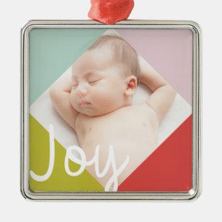 Color Block Joy Silver-Colored Square Decoration