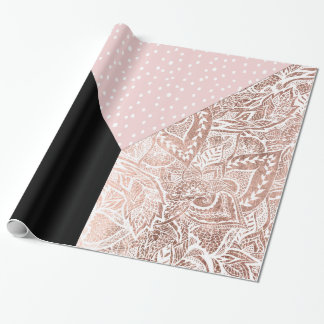 Color block modern pink polka dot floral rose gold wrapping paper