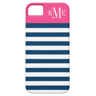 Color Block Monogram | Navy Stripes Case For The iPhone 5