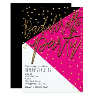 Color Block Pink Black Bachelorette Invitations